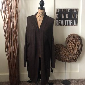 Mossimo brown buttonless long cardigan sweater